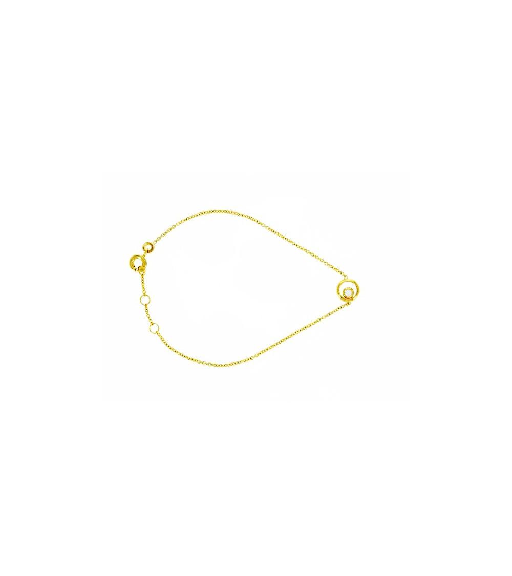 """Gourmette en plaqué or avec un rond orné d""""un oxyde de zirconium serti clos (longueur 16,8 cm réglable à 17,8 cm et 18,5 cm)"""