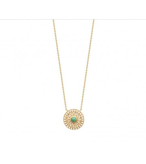"""Collier """"soleil"""" en plaqué or avec en son centre une pierre aventurine"""