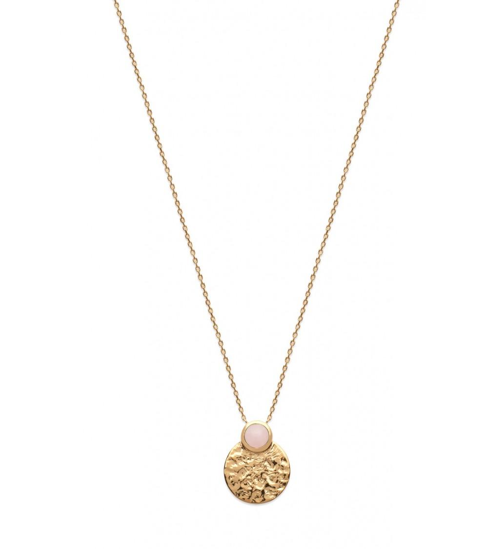 Collier en plaqué or martelé rond surmonté d'une pierre quartz rose, en longueur 45 cm réglable à 42 et 40 cm