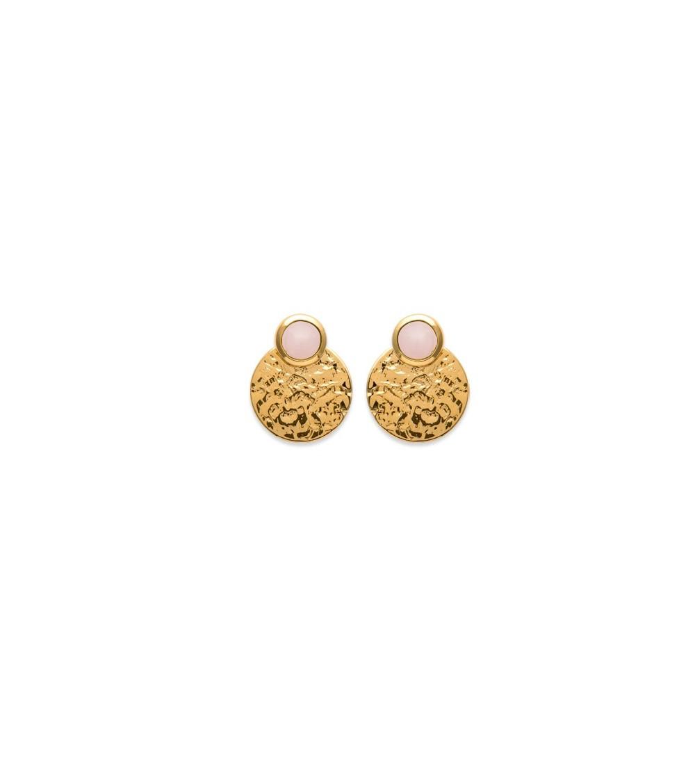 Boucles d'oreilles en plaqué or martelé et quartz rose, avec poussettes