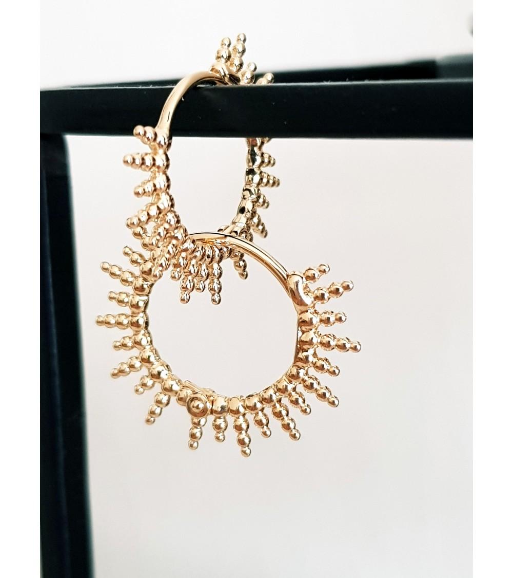 """Boucles d'oreilles créoles """"soleil"""" en plaqué or"""