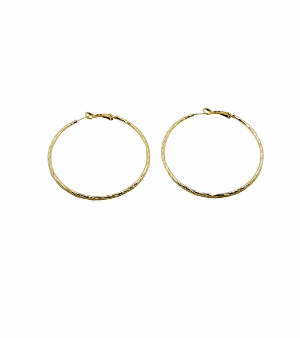 Boucles d'oreilles créoles en plaqué or ciselé (diamètre 60 mm)