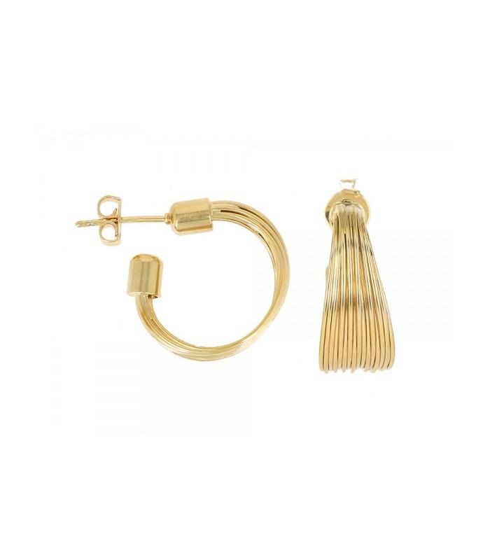 Boucles d'oreilles créoles en plaqué or, 15 fils avec poussettes (diamètre 15 mm)