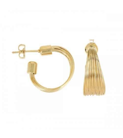 Boucles d'oreille créoles en plaqué or 15 fils, avec poussettes (diamètre 30 mm)