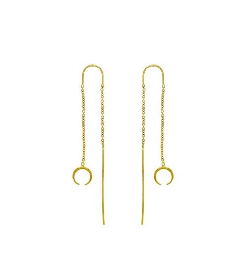 """Boucles d'oreilles traversantes """"lune"""" en plaqué or"""