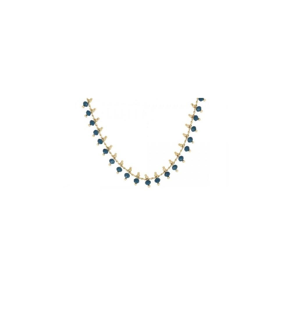 Collier en plaqué or à pampilles avec pierres bleu canard (longueur 43 cm + extension 5 cm)