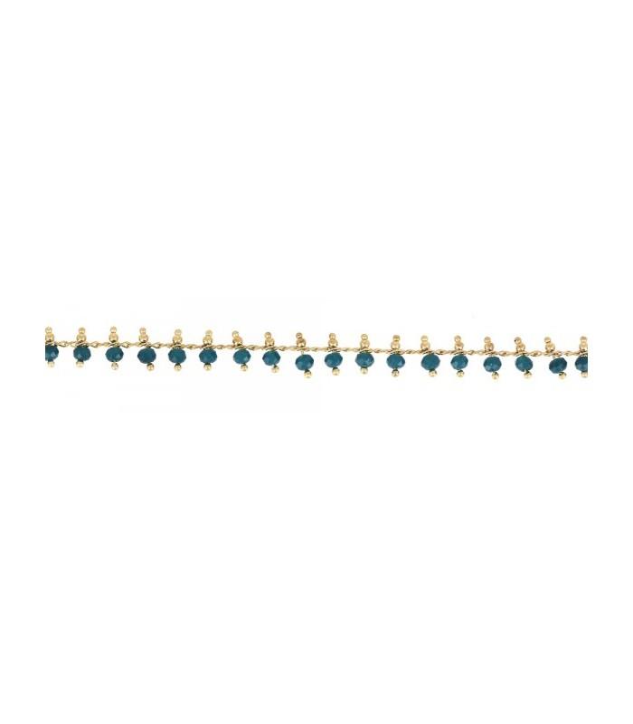 Bracelet en plaqué or avec pampilles en pierres bleu canard (longueur 17 cm + extension 3 cm)