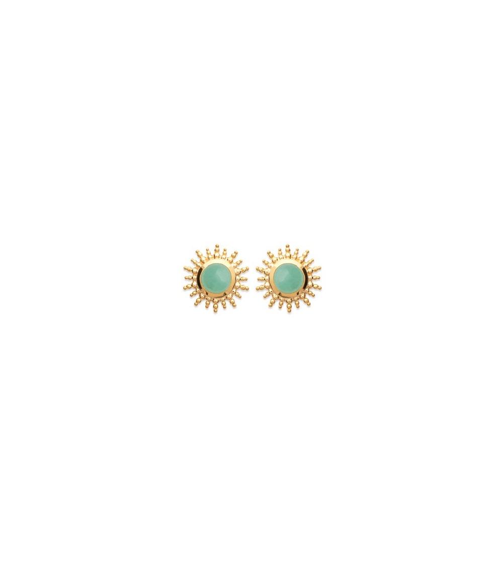 Boucles d'oreilles petit soleil, en plaqué or agrémenté d'une pierre aventurine, avec poussettes