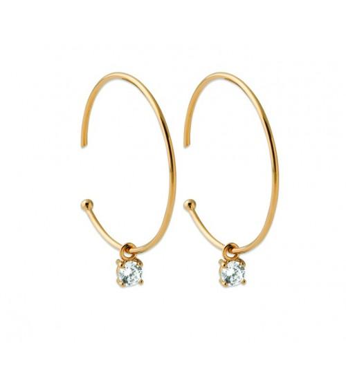 Boucles d'oreilles créoles ouvertes en plaqué or, avec un oxyde de zirconium blanc 4 griffes pendant