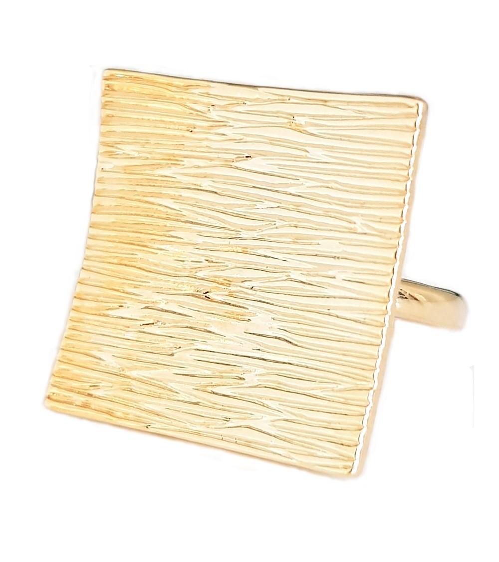 """Bague """"carré"""" striée en Plaqué or"""
