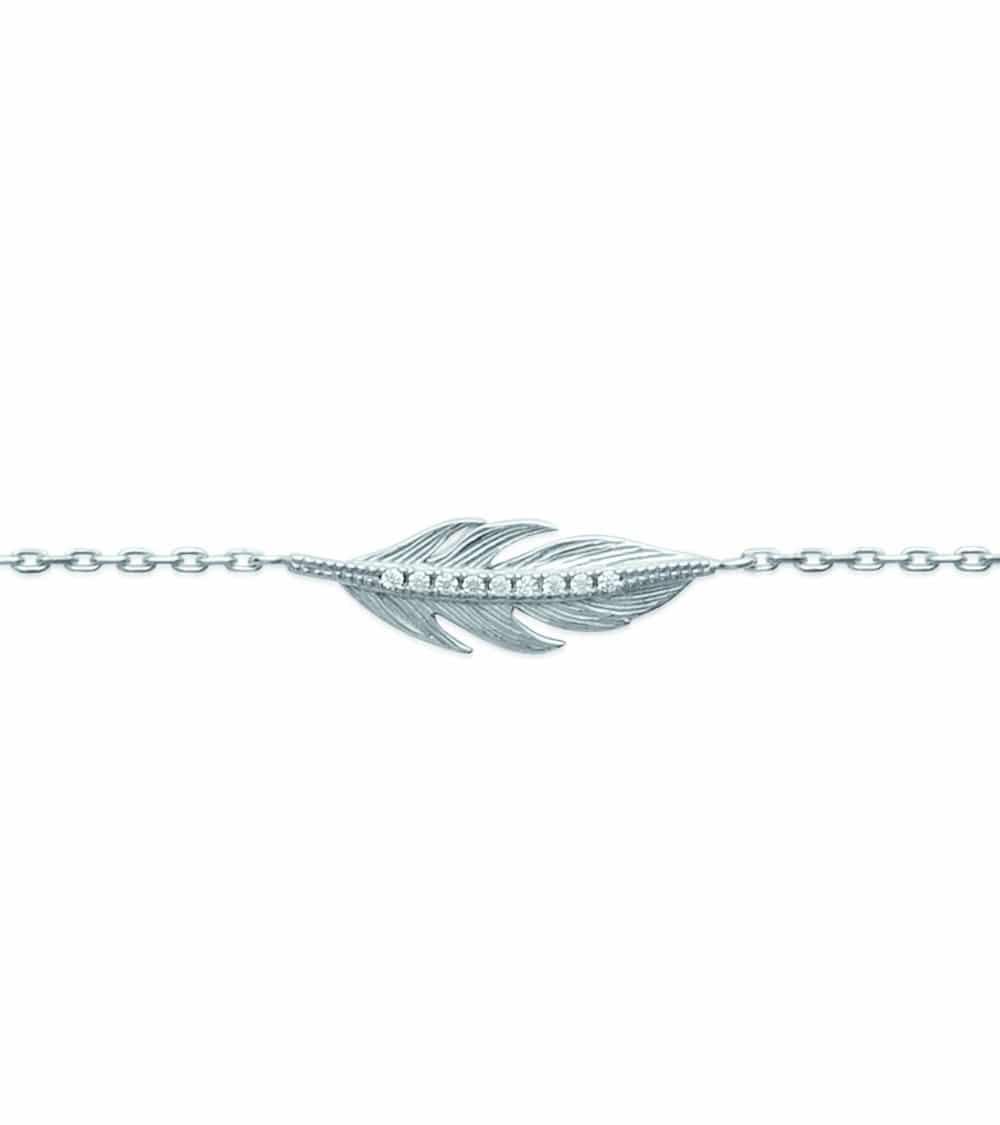 """Collier """"plume"""" en argent 925/1000 rhodié et oxydes de zirconium, en longueur 45cm ajustable à 42 cm"""