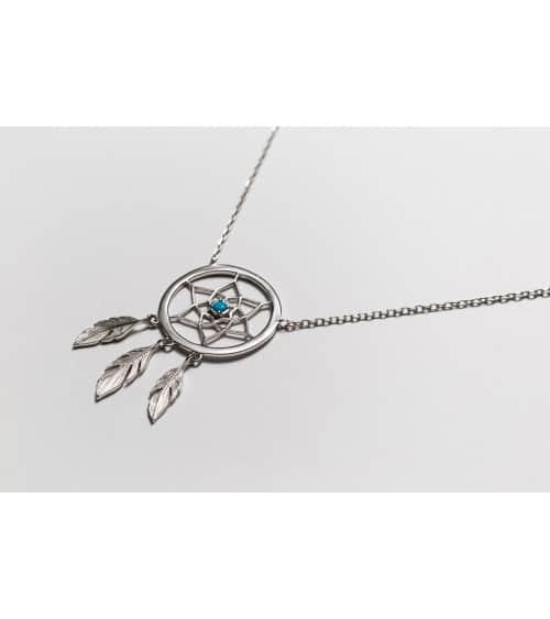 """Collier en argent 925/1000 rhodié """"attrape rêve"""" avec pierres de synthèse turquoise, en longueur 45 cm ajustable à 42 cm"""