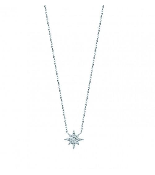 """Collier """"étoile"""" en argent 925/1000 rhodié et oxydes de zirconiums blancs, en longueur 45 cm ajustable à 42 cm"""