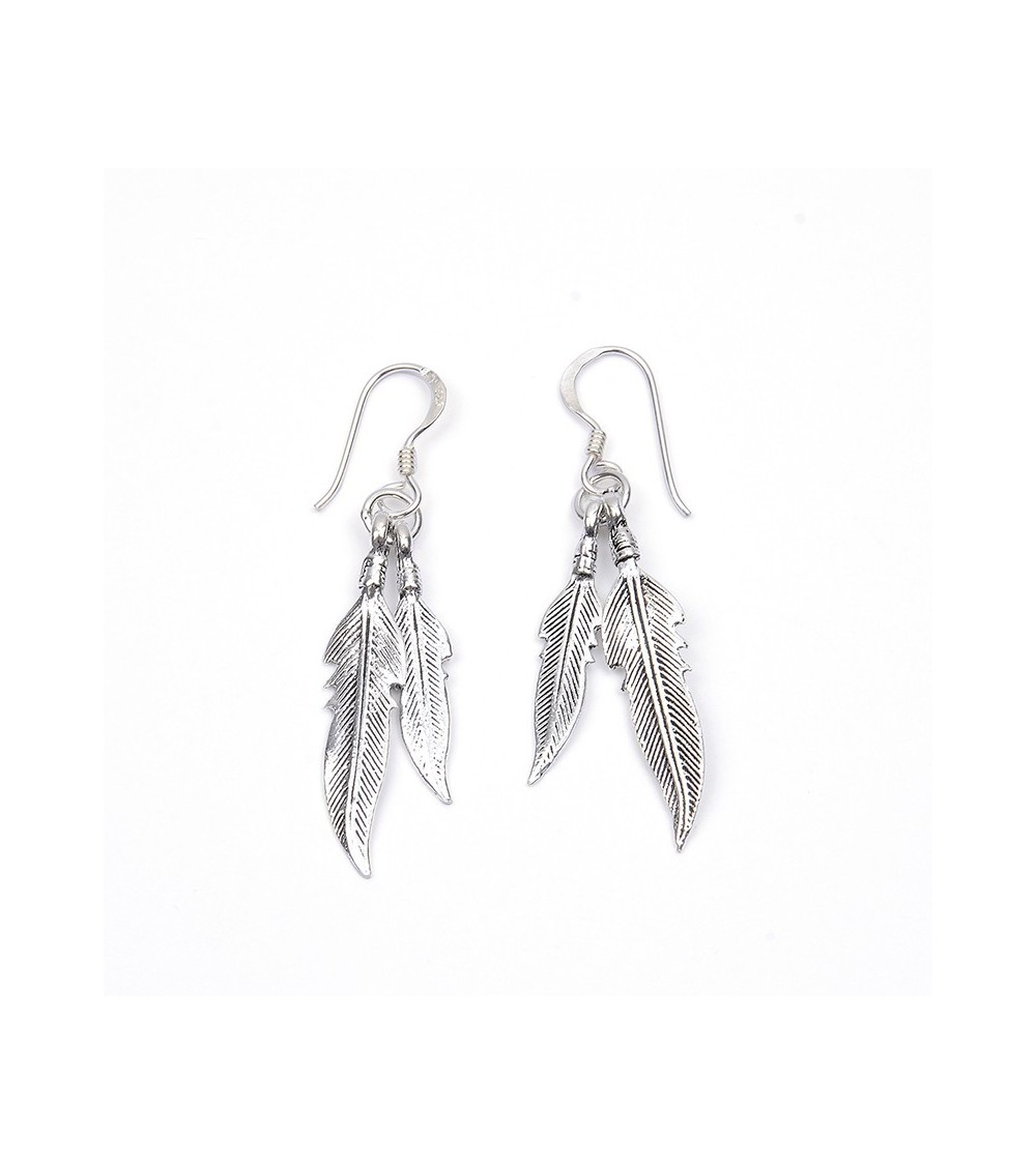 Boucles d'oreilles double plume pendante en argent 925/1000, avec crochets