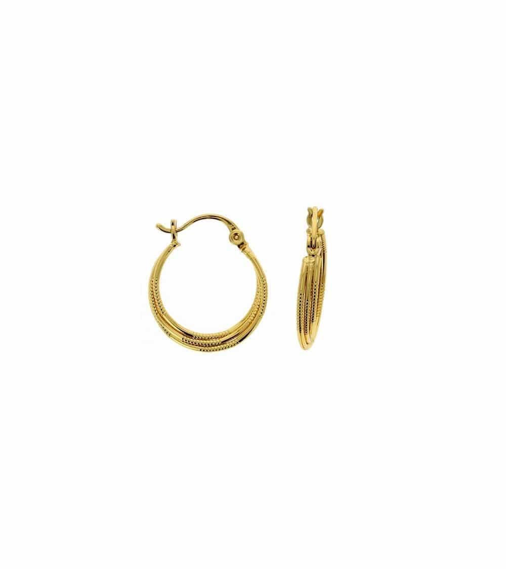 Boucles d'oreilles créoles torsadées en plaqué or (diamètre 15 mm)