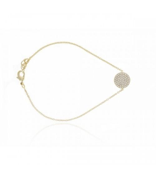 Bracelet en plaqué or avec pastille sertie d'oxydes de zirconium, en longueur 18 cm ajustable à 20 cm