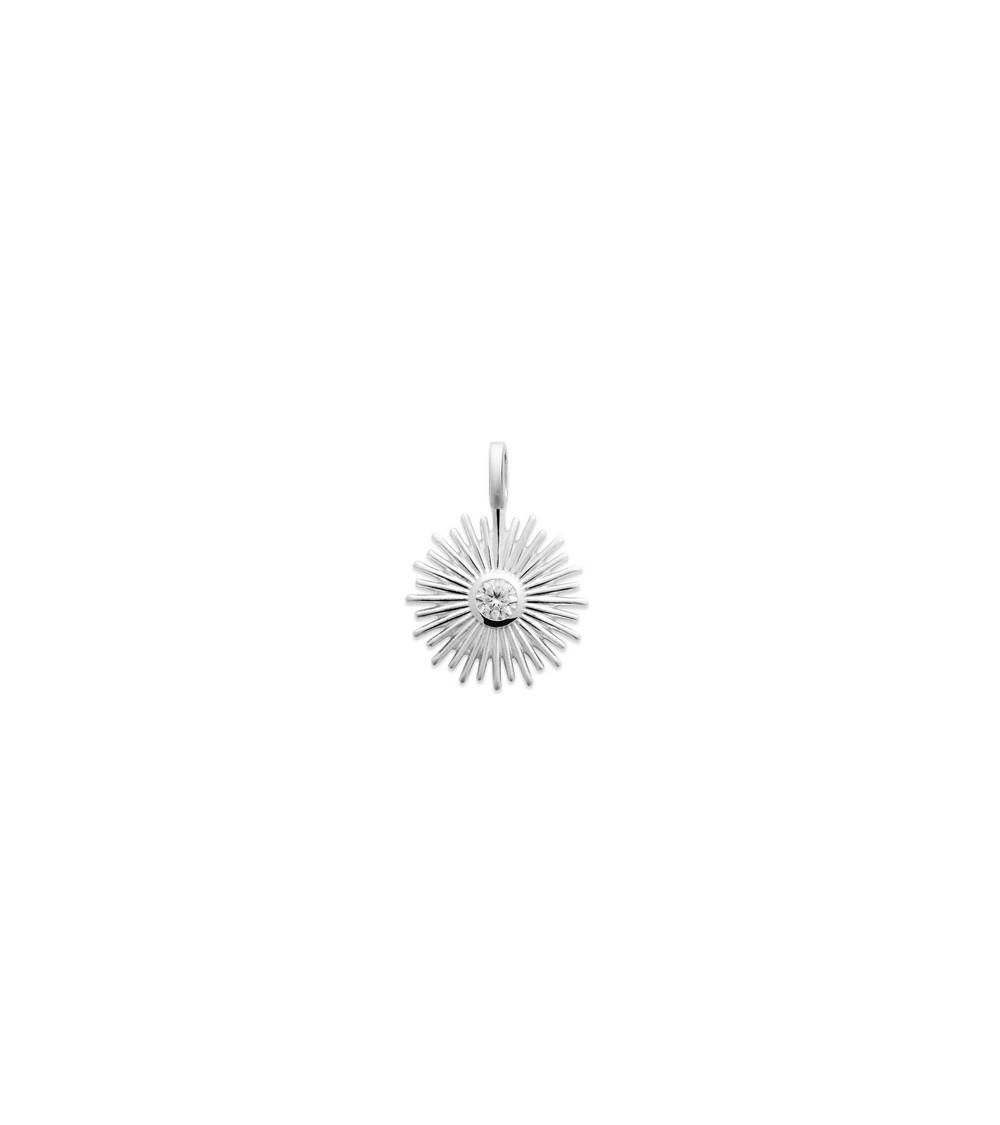 """Pendentif """"soleil"""" seul en argent 925/1000 rhodié avec en son centre un oxyde de zirconium"""