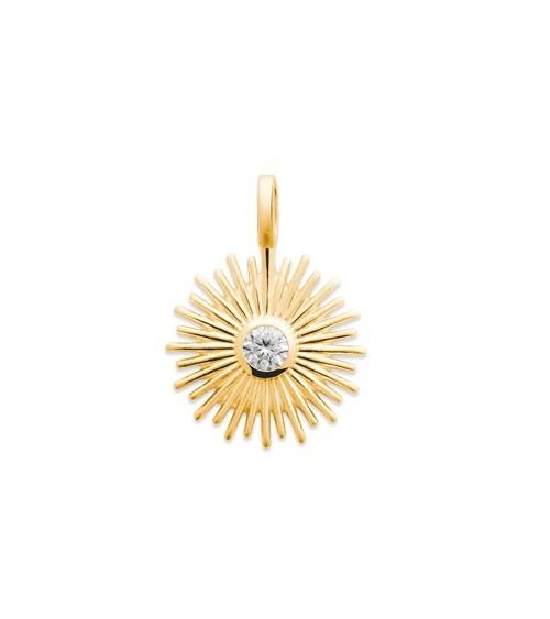 """Pendentif """"soleil"""" seul en plaqué or, avec en son centre un oxyde de zirconium"""