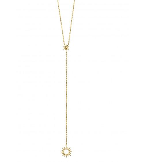 """Collier en plaqué or en Y avec petit """"soleil"""" à son extrémité (longueur 45 cm réglable à 42 et 40 cm)"""
