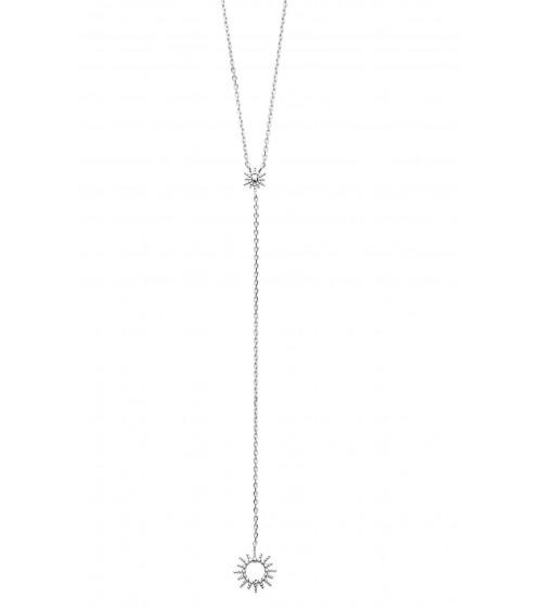 """Collier de forme Y en argent 925/1000 rhodié avec à son extrémité un motif """"soleil"""" (longueur 45 cm ajustable)"""