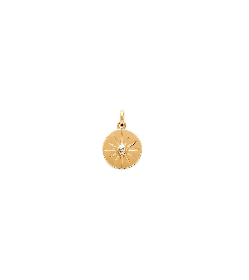 """Pendentif seul en plaqué or, pastille incrustée d'un """"soleil"""" avec en son centre un oxyde de zirconium"""