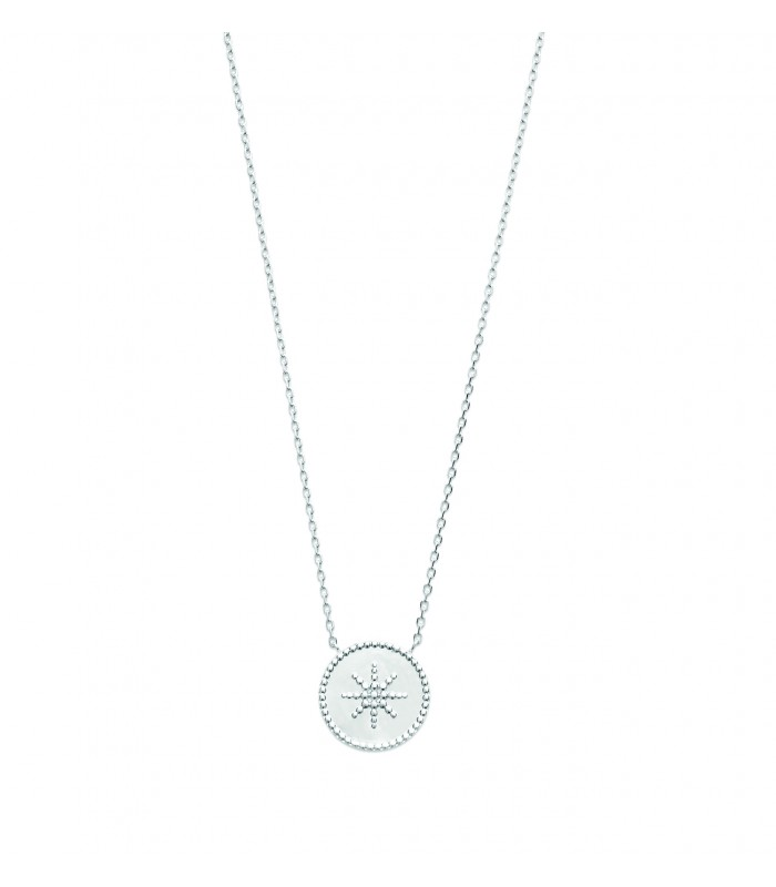 Collier en argent 925/1000 rhodié avec un rond incrusté d'un étoile, en longueur 45 cm réglable en 42 et 40 cm