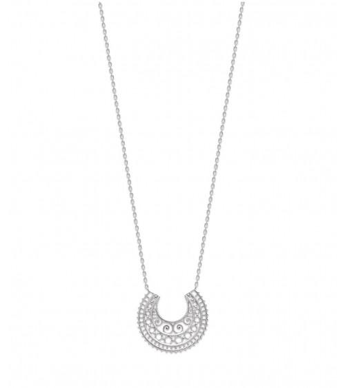 Collier demi sphère ajourée en argent 925/1000 rhodié en longueur 45 cm, réglable à 42 et 40 cm