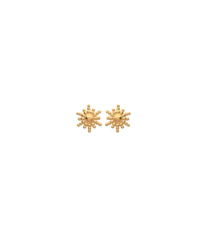 """Boucles d'oreilles """"petit soleil"""" en plaqué or, avec poussettes"""