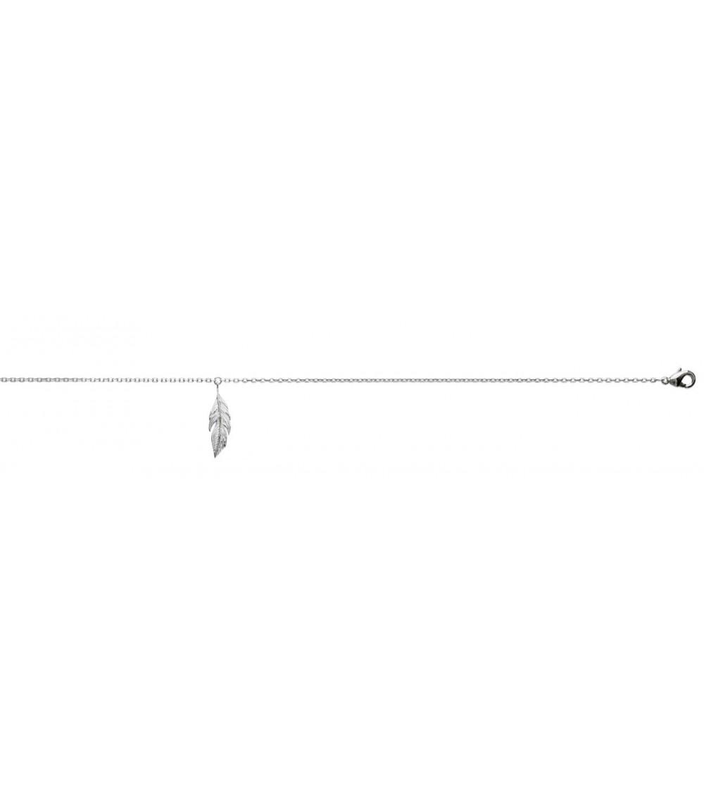 Chaîne de cheville en argent 925/1000 rhodié avec plume pendante (longueur 25 cm)