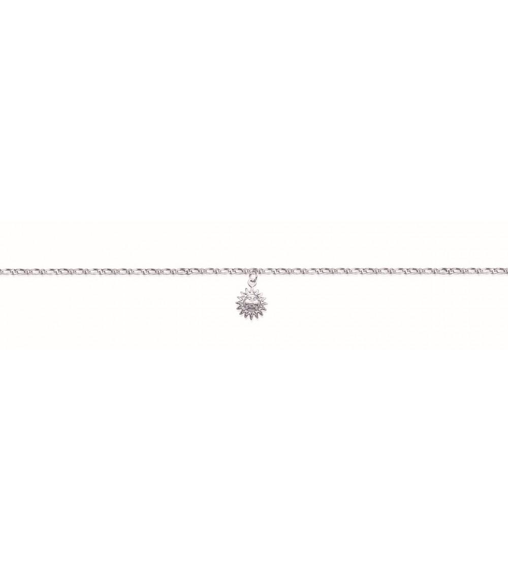 Chaîne de cheville pendante en argent 925/1000 rhodié avec soleil pendant, en longueur 25 cm