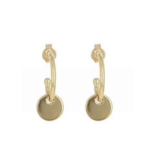Boucles d'oreilles demi créoles en plaqué or avec pastille lisse pendante