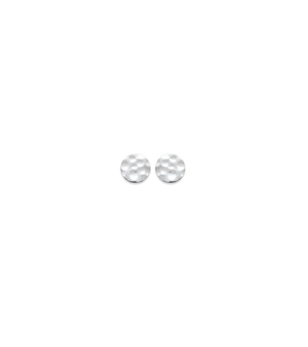"""Boucles d'oreilles """"pastille"""" en argent 925/1000 rhodié martelé, avec poussettes"""