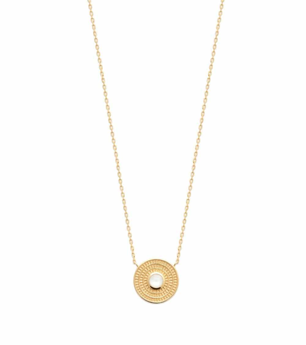 Collier en plaqué or avec rond serti d'une pierre de lune, en longueur 45 cm réglable en 42 et 40 cm