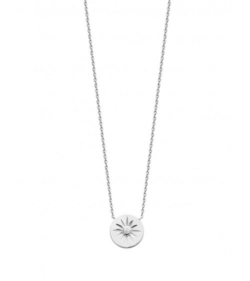 Collier en argent 925/1000 rhodié avec rond étoilé comportant un oxyde de zirconium (longueur 45 cm réglable en 42 et 40 cm