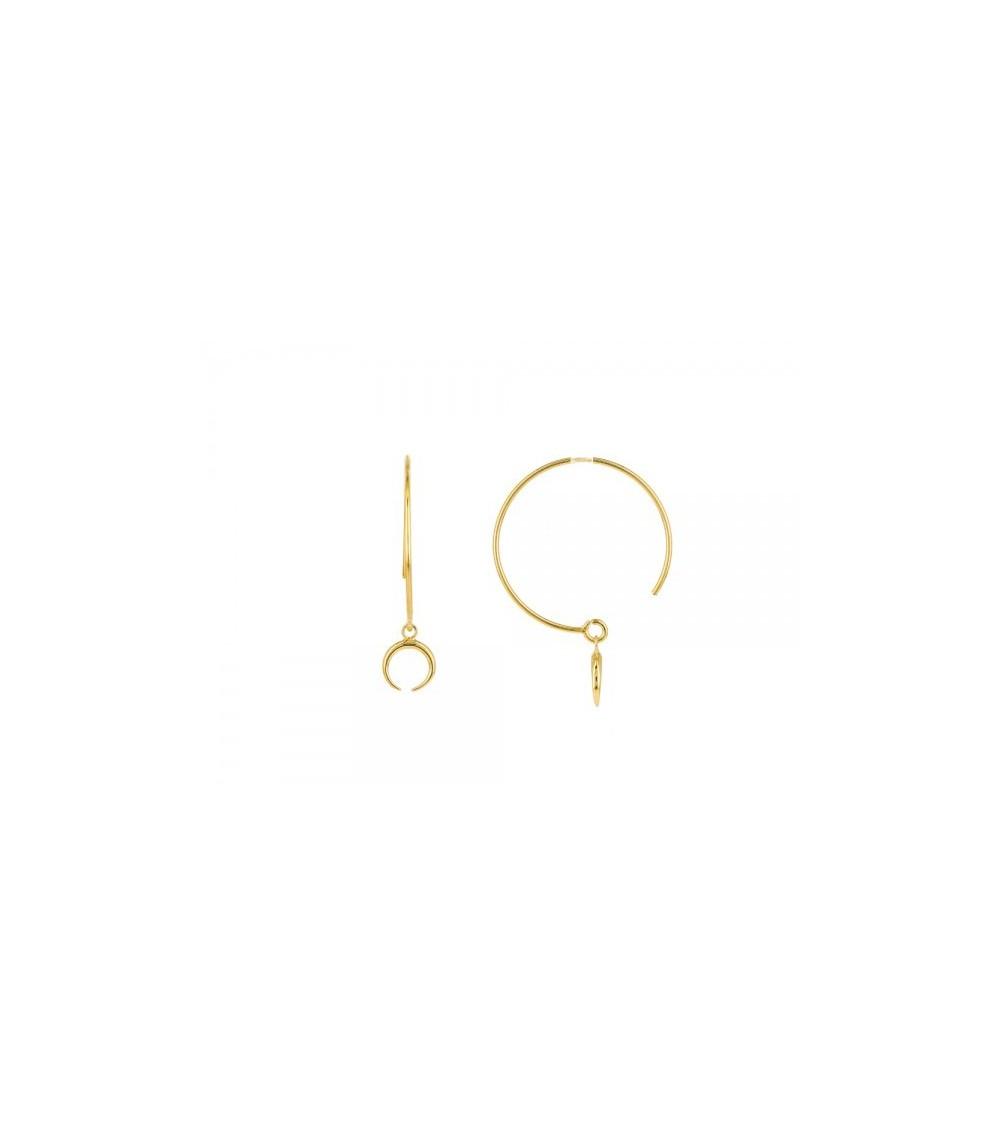 Boucles d'oreilles créoles ouvertes en plaqué or avec une lune inversée pendante