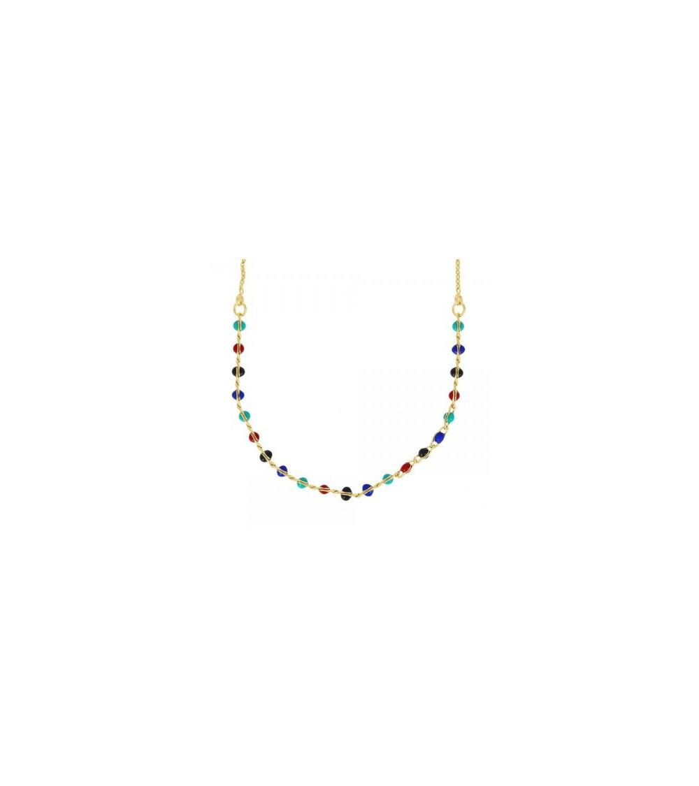 Collier en plaqué or avec petites perles en émail de couleur, en longueur 40 cm réglable jusqu'à 45 cm