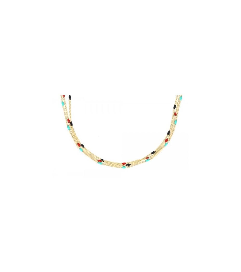 Collier 3 rangs en plaqué or comportant des petites perles de couleur, en longueur 46 cm réglable jusqu'à 51 cm