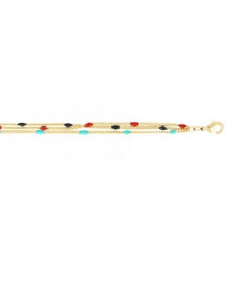 Bracelet 3 rangs en plaqué or comportant des petites perles de couleur, en longueur 15 cm réglable jusqu'à 19 cm