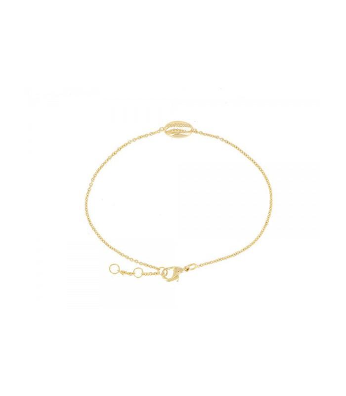 Bracelet en plaqué or avec motif coquillage, en longueur 17 cm réglable à 18 et 19 cm