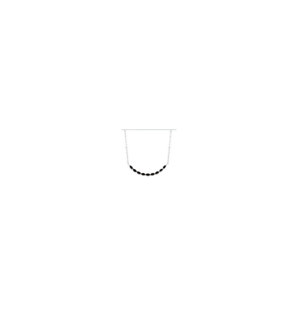 Collier en argent 925/1000 rhodié avec émail noir, en longueur 45 cm réglable à 42 et 40 cm