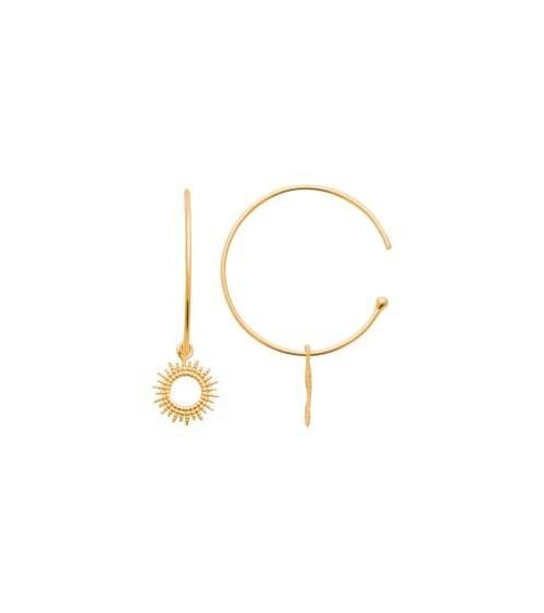 """Boucles d'oreilles créoles ouvertes avec """"petit soleil"""" pendant, en plaqué or"""