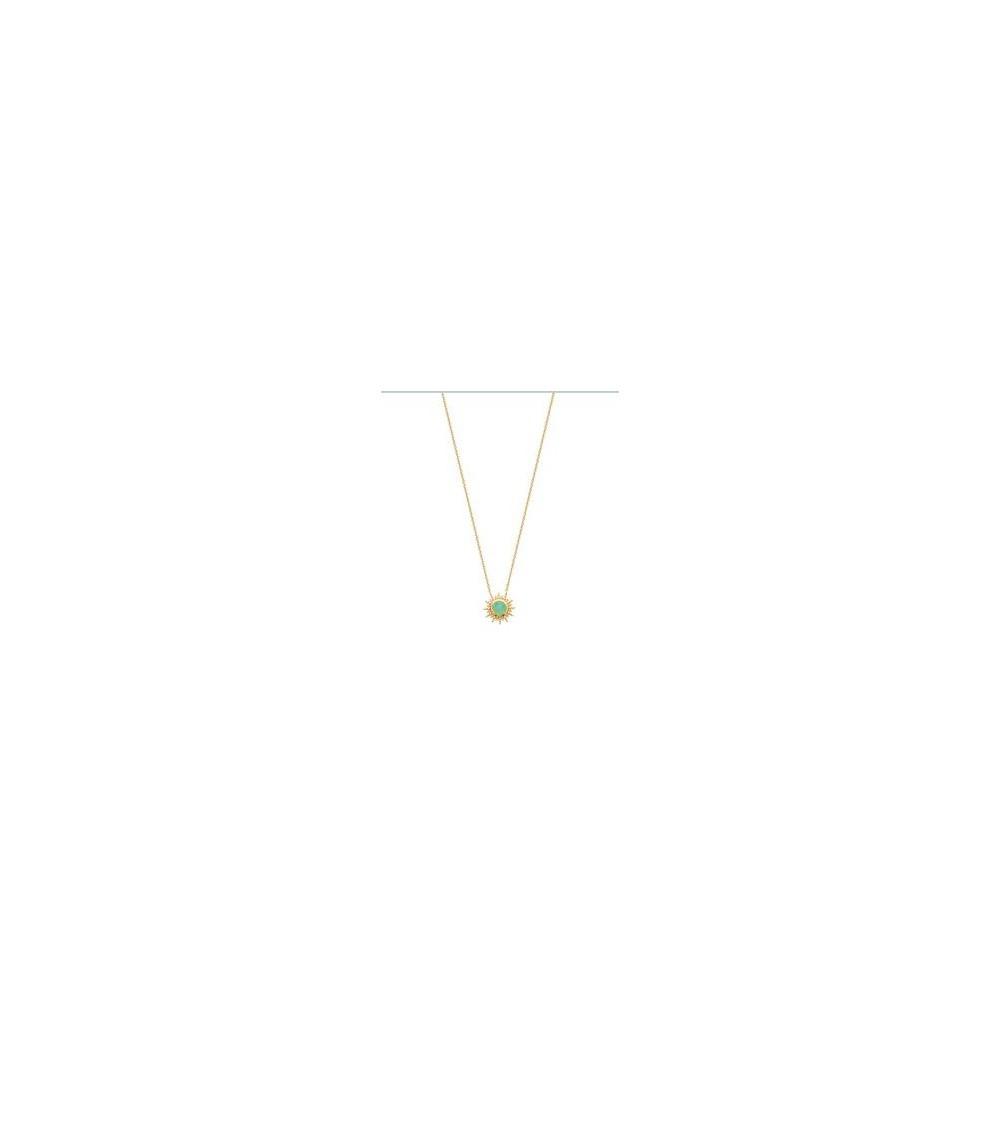 """Collier """"soleil"""" en plaqué or avec en son centre une pierre aventurine, en longueur 45 cm réglable en 42 et 40 cm"""