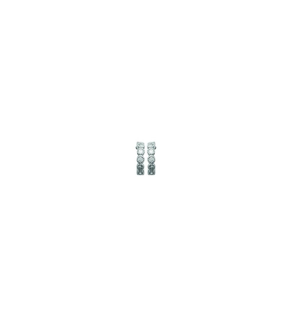 Boucles d'oreilles petites créoles en argent 925/1000 rhodié et oxyde de zirconium, avec poussettes