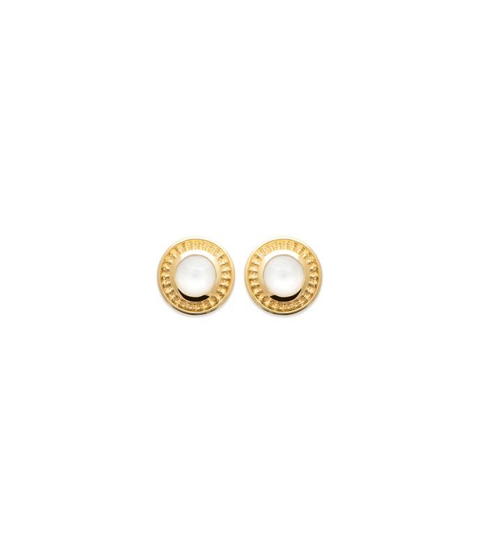 Boucles d'oreilles rondes en plaqué or et pierre de lune, avec poussettes