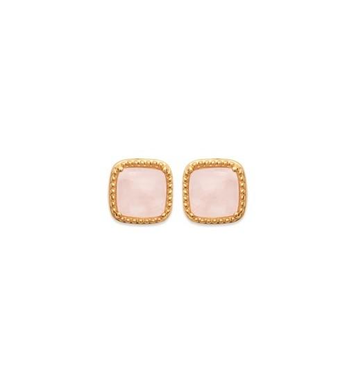 Boucles d'oreilles carrées en plaqué or et quartz rose, avec poussettes