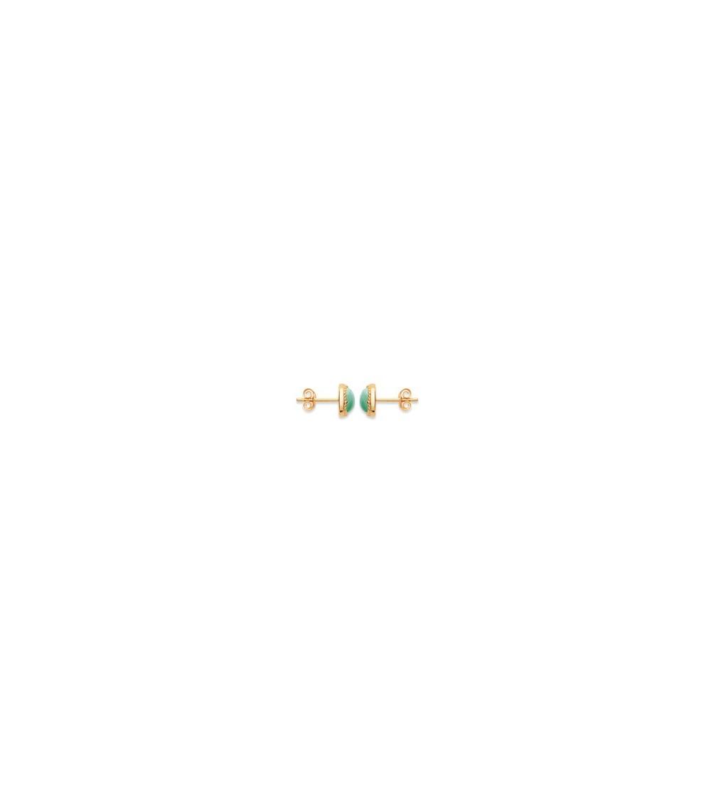 Boucles d'oreilles rondes en plaqué or et pierre aventurine, avec poussettes