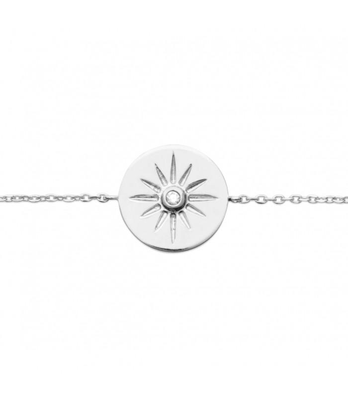 Bracelet en argent 925/1000 rhodié avec pastille étoilée comportant 1 oxyde de zirconium (longueur 18 cm réglable à 16 cm)