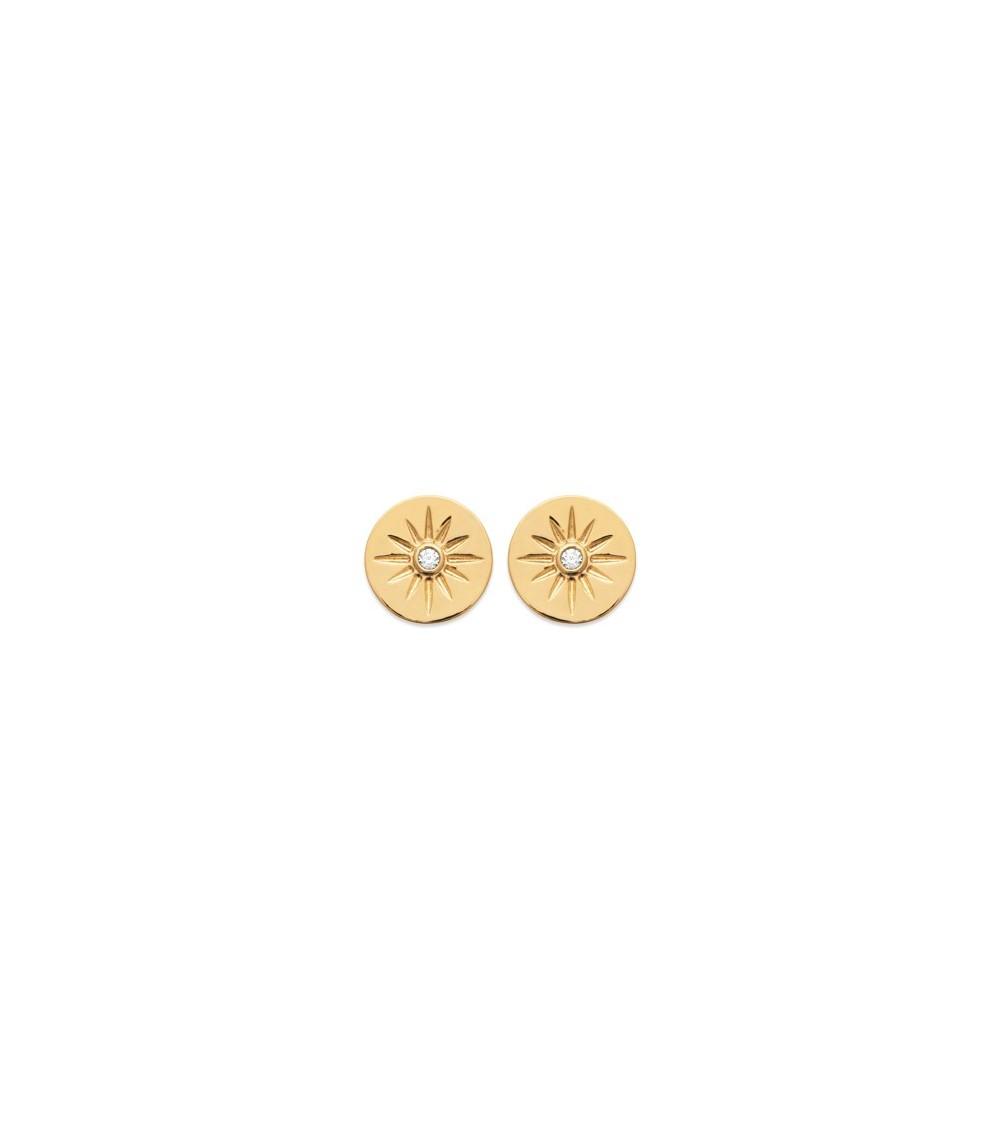 Boucles d'oreilles en plaqué or avec pastille étoilée comportant 1 oxyde de zirconium, avec poussettes