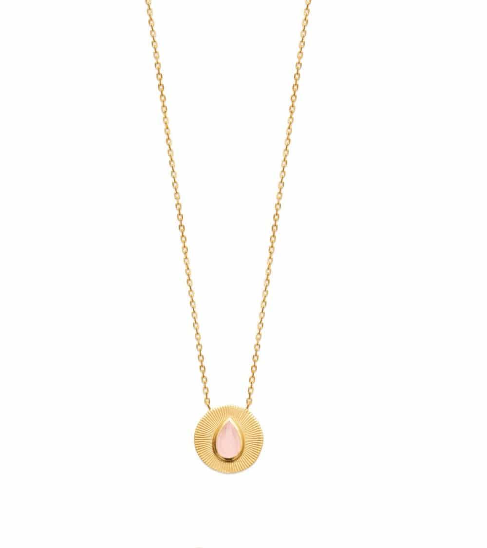 Collier en plaqué or avec pastille surmontée d'une goutte  en quartz rose (longueur 45 cm réglable à 42  et 40 cm)