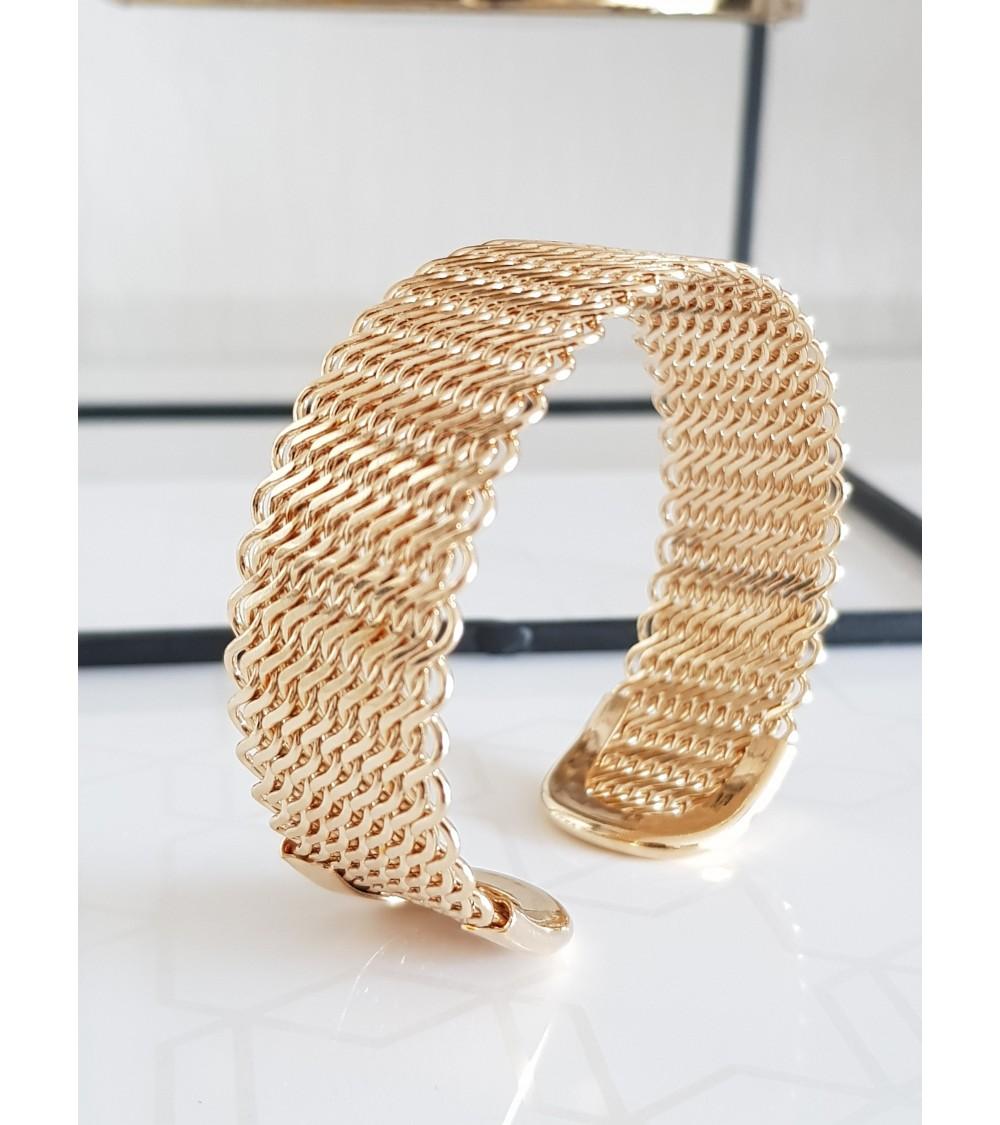 Bracelet ouvert tressé en plaqué or